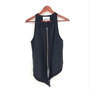 Aiko Full Zip Leather Back Cotton Vest